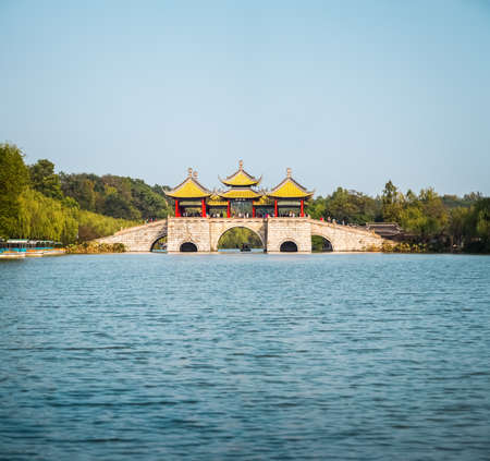 world cultural heritage: yangzhou five pavilion bridge , the slender west lake is world cultural heritage site and national scenic spot