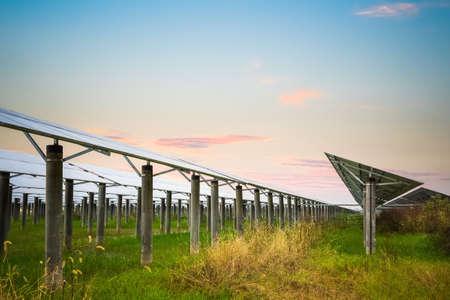 solar farm: solar farm with sunset glow,  clean energy in autumn