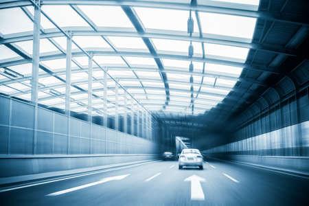 futuristic city: city expressway traffic in a steel structure futuristic construction