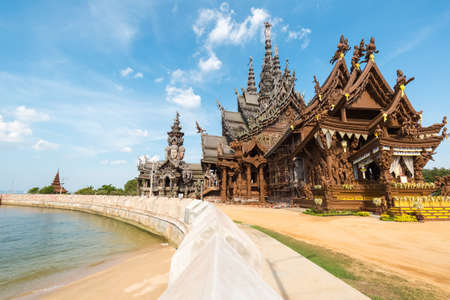 The sanctuary of truth in pattaya, thailand. A gigantic wooden carve sculpture construction Stock Photo
