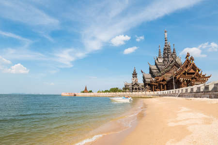 sanctuary: the sanctuary of truth on the seashore in pattaya,  thailand.