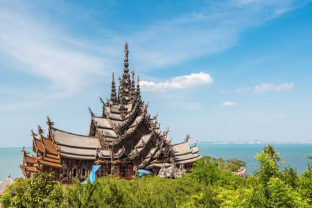 sanctuary: the sanctuary of truth in pattaya, a gigantic wooden construction, thailand.