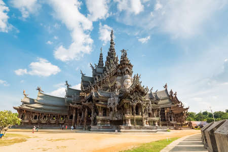 temple thailand: the sanctuary of truth in pattaya, thailand,   teak essence of temple