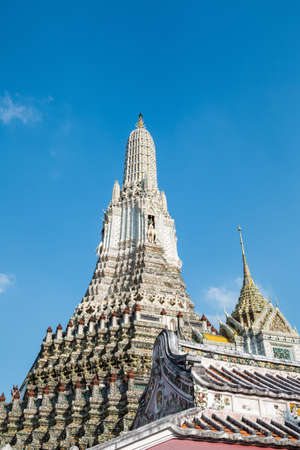 temple thailand: The exterior view of a temple of dawn in Bangkok, Thailand. Stock Photo
