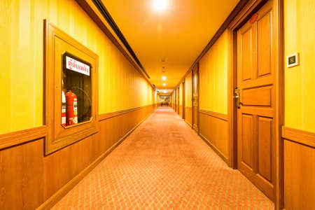 carpet clean: beautiful warm corridor in the hotel with carpet