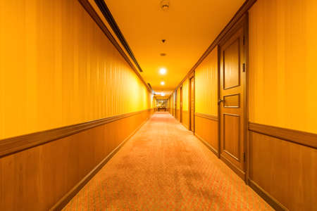 carpet clean: warm corridor in the hotel with old carpet Editorial