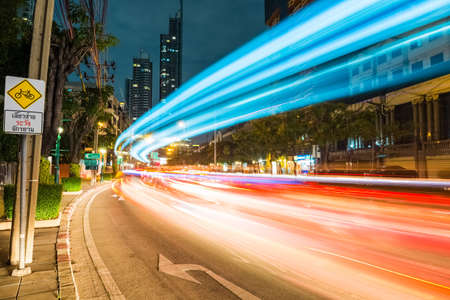 urban scene: bangkok cityscapeof light trails with blurred colors on the street at night Stock Photo