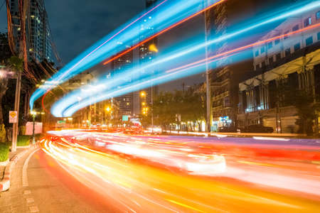 bangkok cityscapeof light trails with blurred colors on the street at night, thailand 写真素材