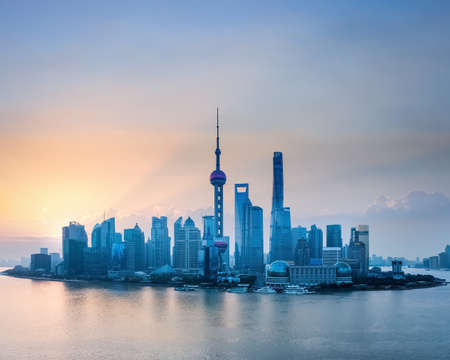 shanghai pudong skyline: shanghai skyline in sunrise, birds eye view of lujiazui financial and trade zone Editorial
