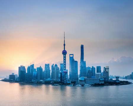 shanghai skyline in sunrise, bird's eye view of lujiazui financial and trade zone