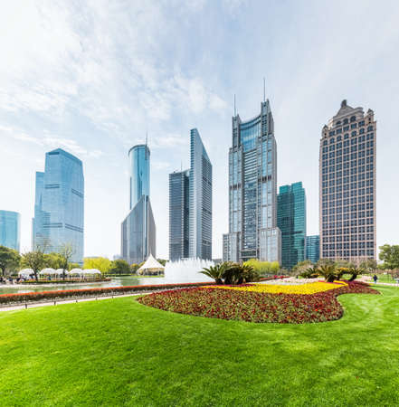 green park: shanghai central greenland with modern buildings in sunshine spring
