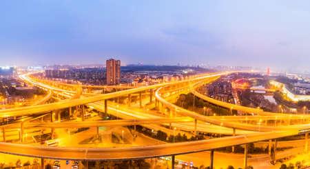 overpass: interchange overpass bridge panorama in nanjing at night Editorial