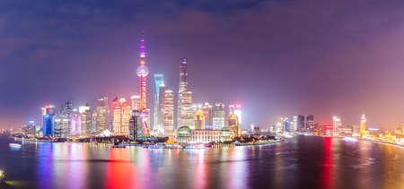 panoramic view: panoramic view of shanghai at night ,China