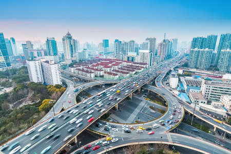 separation: urban grade separation bridge at dusk , shanghai ,China
