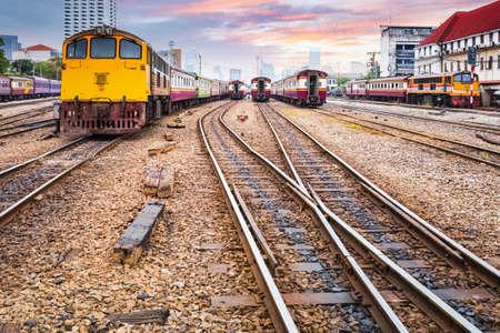 orange train diesel locomotive on bangkok railway station , thailand Archivio Fotografico