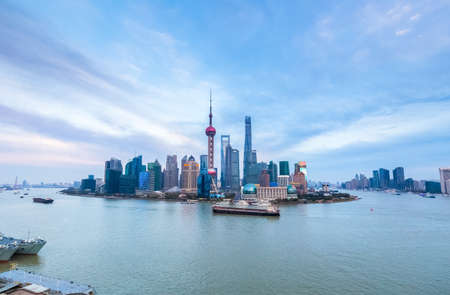 huangpu: shanghai cityscape in afternoon , a panoramic view of pudong skyline and huangpu river