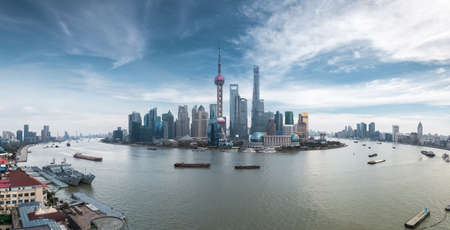 panoramic sky: panoramic view of shanghai skyline against a blue sky ,China