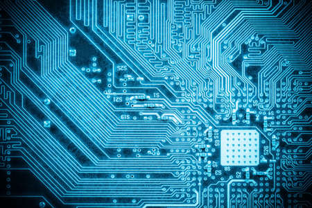 high tech: blue circuit board closeup, abstract high tech background