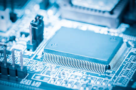 circuitry: closeup of the processor with electronic circuit board