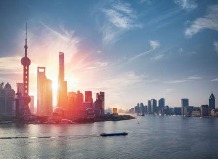 huangpu: shanghai skyline against a blue sky with beautiful huangpu river