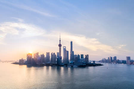 sunup: shanghai skyline and huangpu river in sunup , charming metropolitan background Stock Photo