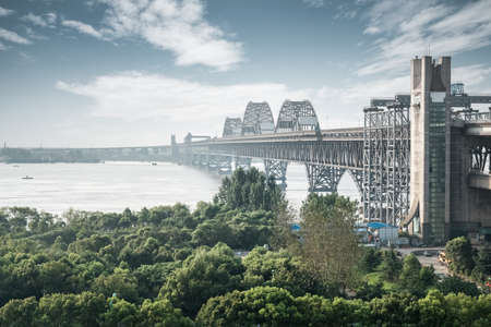 yangtze: renovation of jiujiang yangtze river bridge , China Stock Photo