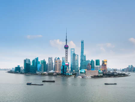 pudong district: shanghai skyline in daytime,huangpu river and pudong financial district , China
