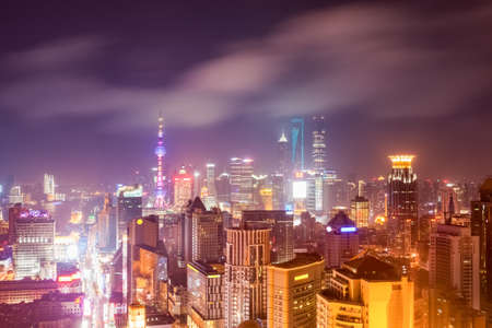 shanghai at night , high angle view of lujiazui skyline and nanjing road Stock Photo