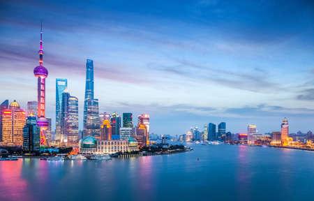 metropolitan: beautiful shanghai in nightfall, charming metropolitan cityscape , China