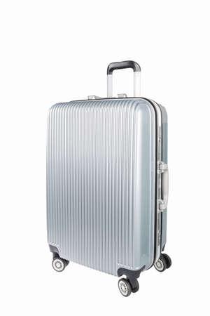 valise voyage: Voyage argent valise en plastique et des roues isolé sur blanc