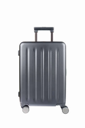 baggage: travel plastic suitcase and wheels isolated on white Stock Photo