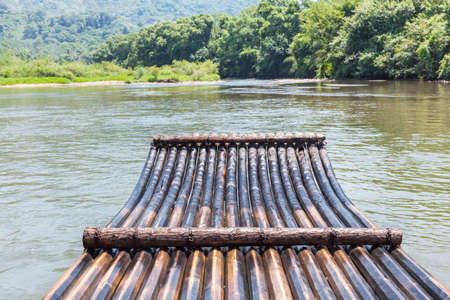 raft: bamboo raft in the stream ,drift outdoor
