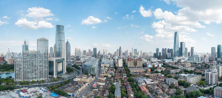 a panoramic view of tianjin cityscape , China