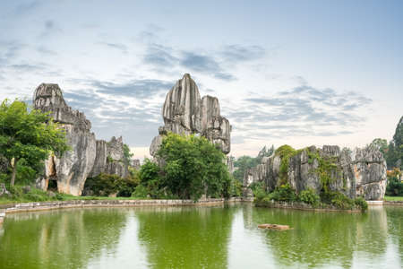 kunming: stone forest scenic national park, kunming city ,yunnan province, China. Stock Photo