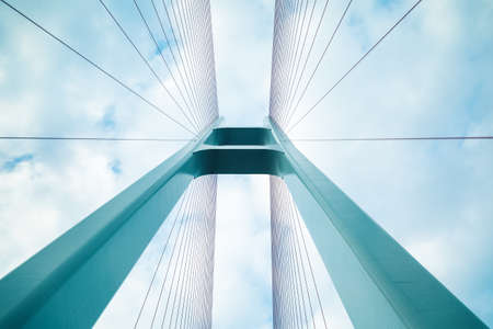 closeup view: blue cable stayed bridge closeup, upward view