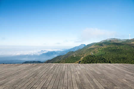 the prospects: sea of clouds and wind farm on the  jiugong mountain with wooden floor prospects ,hubei province,China