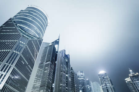 corporate buildings: shanghai skyline of lujiazui financial and trade zone at night Stock Photo