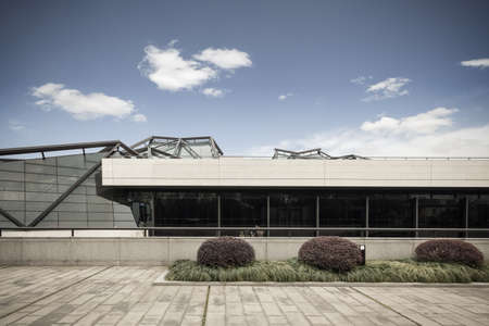 empty office: modern architecture against a blue sky , blank floor prospects Editorial