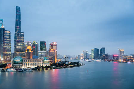 both sides: shanghai closeup in nightfall, beautiful scenery on both sides of the huangpu river.