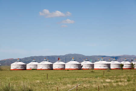 ger: traditional nomadic tents on inner mongolia grassland ,China Stock Photo