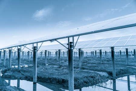 wasteland: solar power plant,large area photovoltaic panels in wasteland Stock Photo