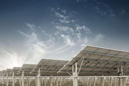 sun energy: power plant using renewable solar energy with sun