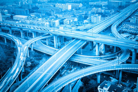 viaducts: city overpass closeup with blue tone ,  expressway  interchange and viaducts in hangzhou