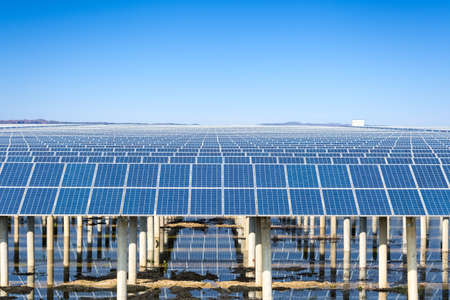 electrical equipment: photovoltaic power generation, renewable energy sources against the sunny sky