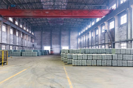 electrolytic: industrial finished products warehouse in a lead and zinc metal factory Editorial