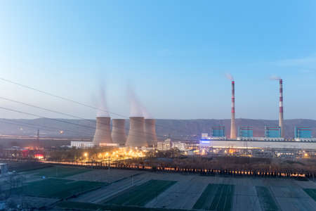modern thermal power plant in nightfall, gansu province,China Editorial