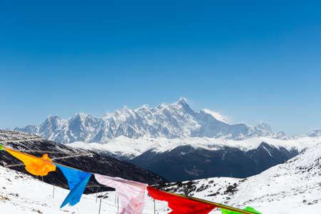 snow mountain landscape of namcha barwa peak in tibetan himalayas