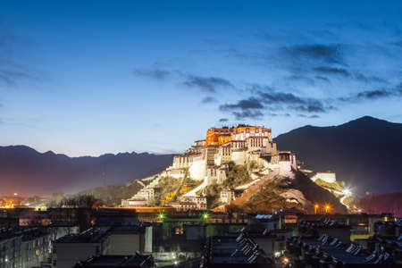 overlook of the potala palace in nightfall, beautiful night view on lhasa, China Editorial