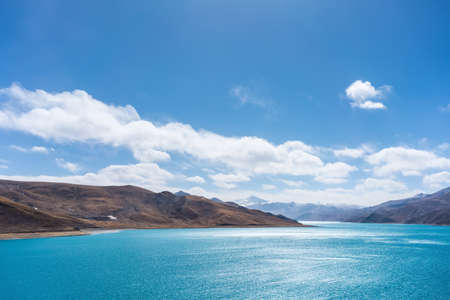 plateau: pure landscape in tibet, holy lake and mountain with blue sky on tibetan plateau