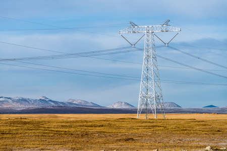 powerful electric power pylon closeup on tibetan plateau